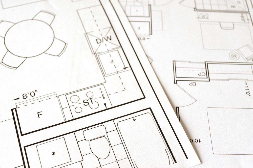 Építészeti tervrajz papíron